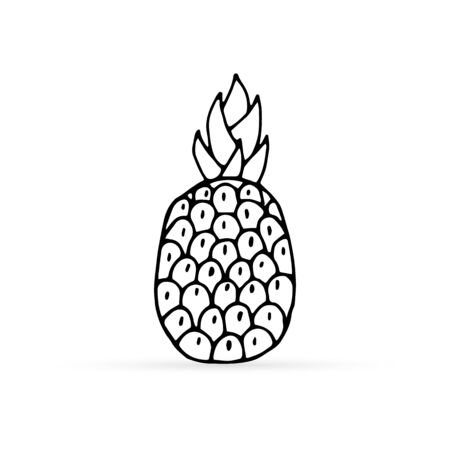 Doodle pineapple icon isolated on white. Hand drawing art line. Coloring food sticker. Vector stock illustration