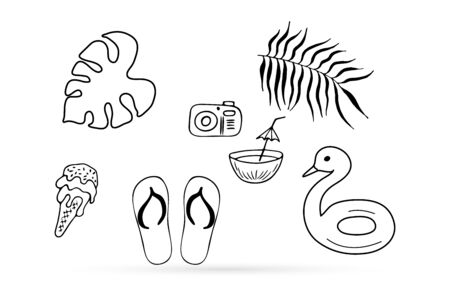 Beach sneakers, ice cream, photo camera, coconut, leaf of palm set icon isolated on white. Flip flops and food, kids hand drawing art. Coloring vector stock illustration collection