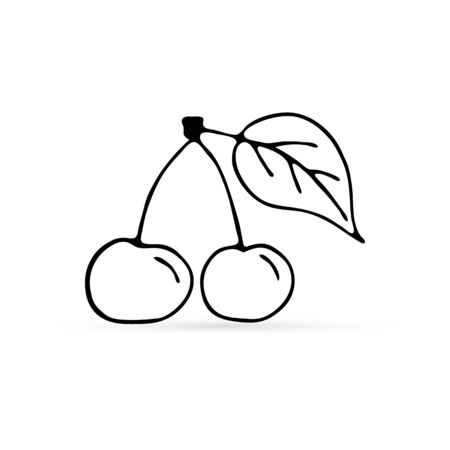 Doodle herry with leaf icon isolated on white. Fruit coloring. Food hand drawing art line. Outline berry vector stock illustration 向量圖像
