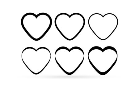 outline hearts set icon isolated on white, sketch for velentine day or wedding, bundle sticker collection, vector stock illustration