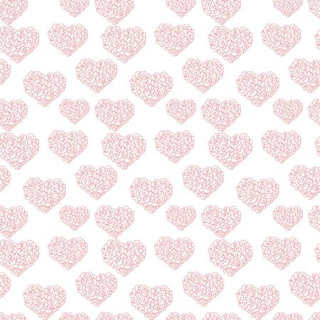 Abstract heart with wave or vortex seamless pattern for valentine's day or wedding. Isolated on white. Doodle vector stock illustration