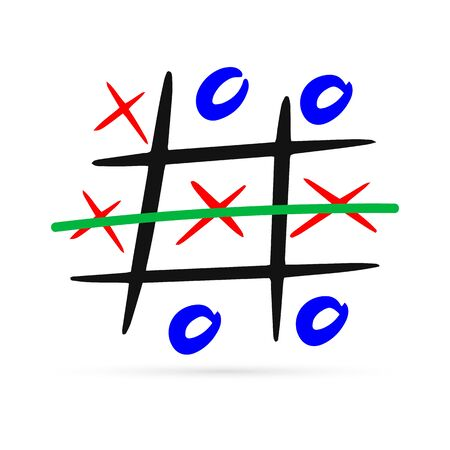 Doodle tic tac toe game with cross and circle icon. Sketch kids hand drawing image. Line art. Vector stock illustration