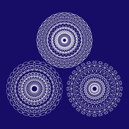 Outline sacred symbol. Colored mandala. Vector energy star. Intersection of lines. Golden Section. Crossing lines. Intersection circles Çizim