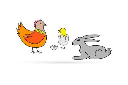 Easter set isolated on white. Newborn chick in shell of egg, rabbit, Kids hand drawing art line. Sticker vector stock illustration