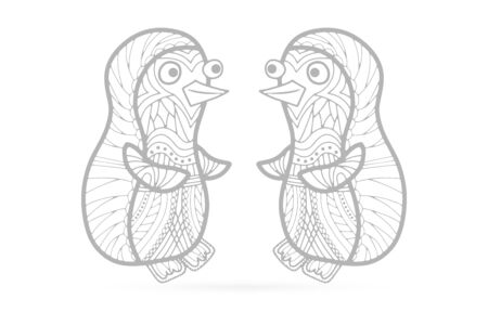 Baby penguin icon isolated on white. Hand drawn art line. Sketch for anti-stress adult coloring book in zentangle style. Vector illustration
