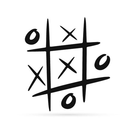 Game icon. Tic tac toe game with cross and circle. Tic tac toe on white background. Vector illustration. Çizim