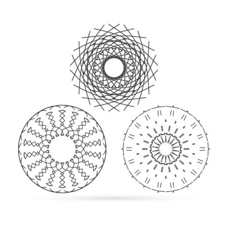 Outline sacred symbol. Coloring mandala. Vector energy star. Intersection of lines. Golden Section. Crossing lines. Intersection circles