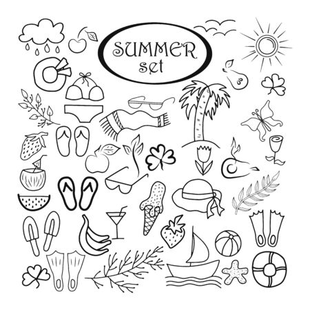 Doodle summer set isolated. Outline hand drawing art line. Collection branch, glasses, flower, apple, Beach towel, cerry, berry etc. Vector stock illustration