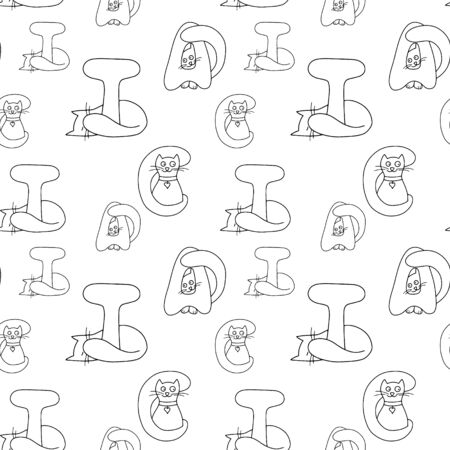 Cat lettering seamless pattern isolated on white. Coloring animal design. Doodle hand drawing line art. Vector stock illustration Ilustrace