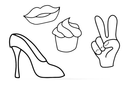 Doodle womens set icon isolated on white. Shoes, lips, hand, cake art line. Vector stock illusteation
