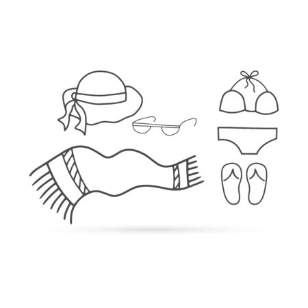 Doodle beach towel, beach hat for women with ribbon, glasses icon isolated on white. Kids hand drawing line art. Sketch plaid. Vector stock illustration
