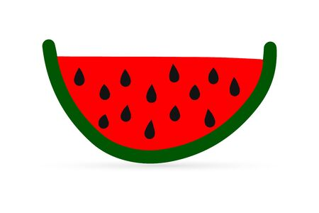 doodle watermelon icon, kids hand drawing food, summer vector illustration 向量圖像