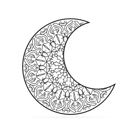 Outline moon icon isolated on white. Art line in boho or maori style. Sketch mehendi style. Vector stock illustration
