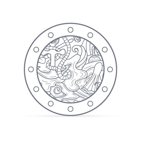 Doodle porthole with sea icon isolated on white. Marine pattern with boat, paddle, wave. Outline antistress coloring. Vector stock illustration