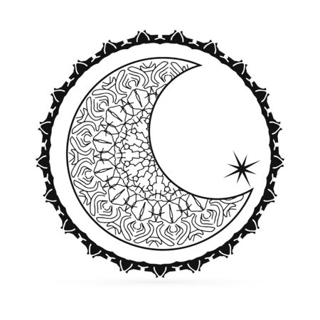Outline moon with star icon isolated on white. Art line in boho or maori style. Sketch mehendi style. Vector stock illustration