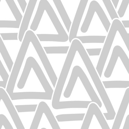 Doodle etnic seamless pattern isolateed on white. Outline triangle art. Sketch vector illustration