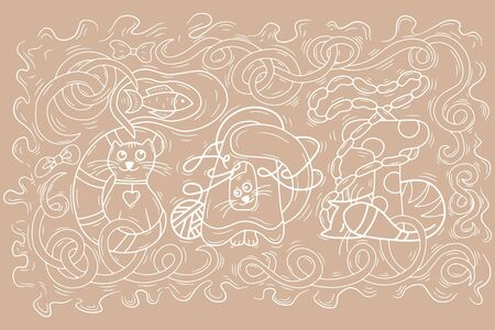 Outline cat lettering. Cat dreams sausage and fish. Animals design. Doodle hand drawing line art. Sketch pet. Vector stock illustration