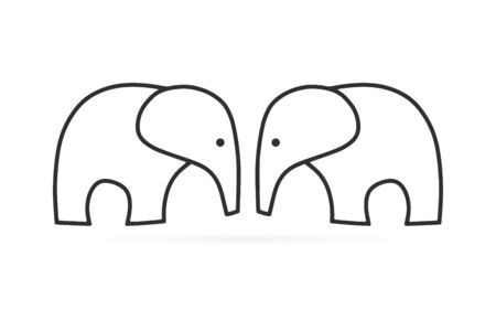 Doodle coloring page book elefant. Sketch icon isolated on white. Hand drawing line art. Outline vector stock illustration 矢量图像