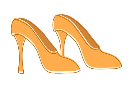 Doodle women shoes icon isolated on white. Hand drawing line art. Illustration