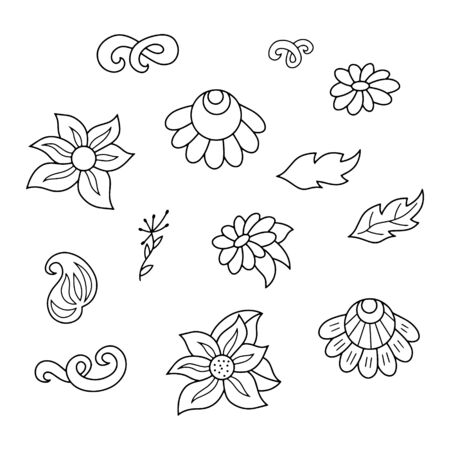 Doodle coloring antistress flower with leaf and wave swirl isolated on white. Bundle hand drawing art line for card. Design cloth. Sketch vector stock illustration. EPS 10