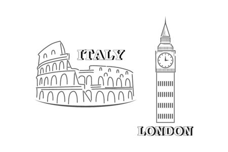 Doodle coliseum and big ben collection isolaten on white. Outline sit icon. Hand drawing line art. Sketch vector stock illustration. EPS 10