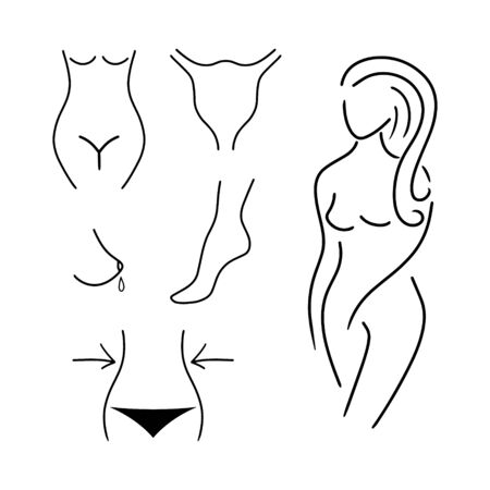 Doodle womens body set isolated on white. Hand drawing line art. Sketch anatomy. Outline vector stock illustration. EPS 10 Illusztráció