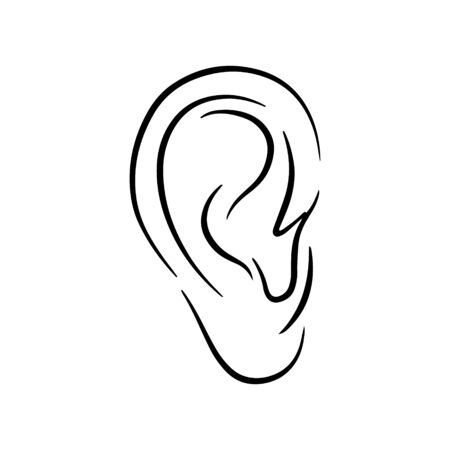 Doodle ear of men isolated on white. Hand drawing line art. Outline anatomi logo. Sketch vector stock illustration. EPS 10