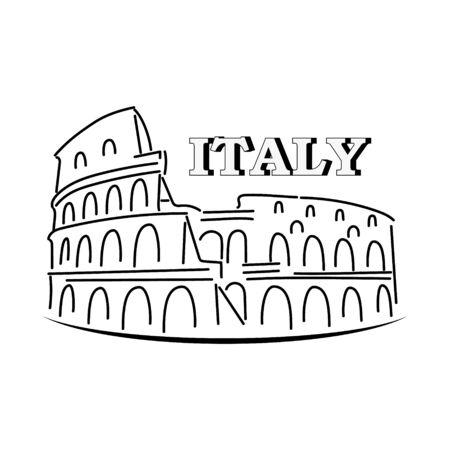 Doodle coliseum isolated on white. Outline icon. Hand drawing line art. Tourism symbol. Sketch vector stock illustration. Vektorgrafik