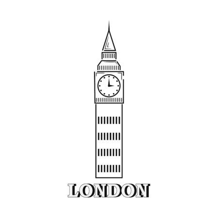 Big ben isolaten on white. Outline icon. Hand drawing line art. Sketch vector stock illustration. EPS 10
