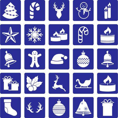Set black christmas stencil on gray. Collection icons. Deers, christmas ball, siedge, bell, candle, sweet, gift etc. Vector stock illuctration. EPS 10 Vettoriali