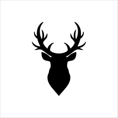 Elk head icon. Template  design. Black vector silhouette of deers head with antlers isolated on white background. Christmas symbol. Ilustração