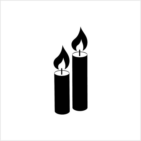 Symbol for design postcard, invitation, poster. Candle icon. Stencil for christmas etc. Vector stock illustration. EPS 10 Vectores