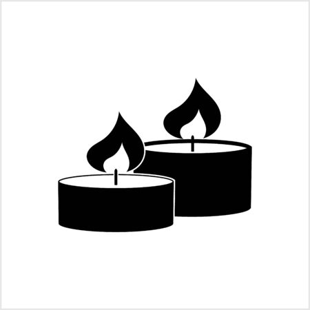 Candle icon isolated on white. Symbol for design postcard, invitation, poster. Stencil for christmas etc. Vector stock illustration. EPS 10