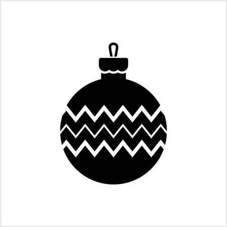 Doodle christmas ball icon isolated on white. Vector stock illustration. EPS 10 Vectores