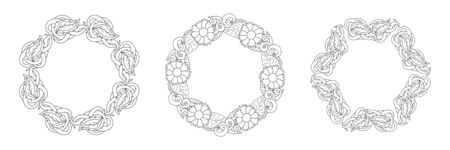 Doodle elegance border set icon isolated on white. Outline flower and leaf frame for wedding design, card. Floral hand dwawing art line. Sketch vector stock illustration. EPS 10