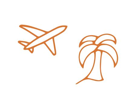 Summer icon. Vacation symbol. Palm and airplane line silhouette. Tropical vector illustration. EPS 10