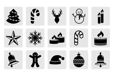 Set of Christmas stencil. Collection of icons. Deer, christmas ball, sledge, bell, candle, sweet etc. Vector stock illlustration. EPS 10 Illustration