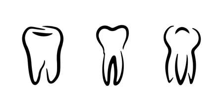 Doodle tooth set icon isolated on white. Kids hand drawing art line. Sketch vector stock illustration. EPS 10