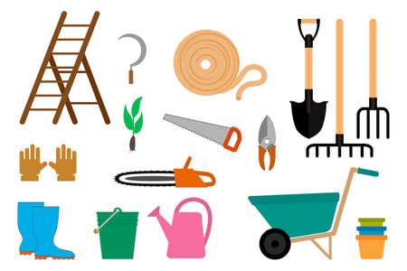 Gardening equipment icon isolated on white. Garden symbol. Vector stock illustration. EPS 10