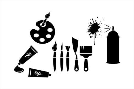 Set art icons isolated on white. Stencil collection.