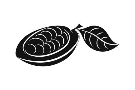Doodle cocoa with leaf icon isolated on white. Stencil chocolate food. Vector stock illustration.