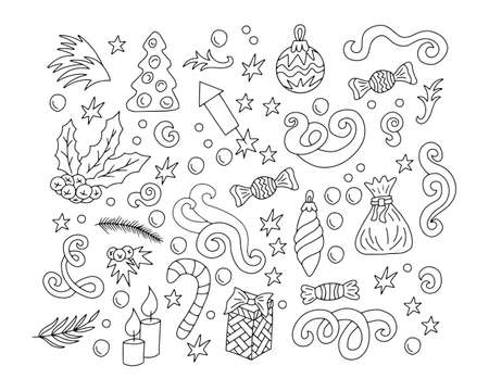 Doodle christmas set icon isolated on white. Outline winter art. Hand drawing vector stock illustration.