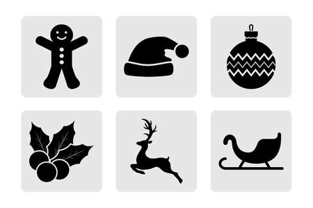 Set of Christmas stencil. Collection of icons. Deer, christmas ball, sledge etc. Vector stock illustration.