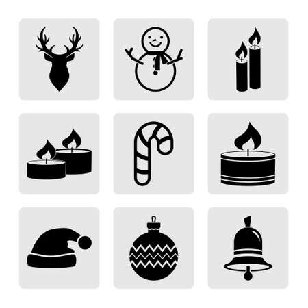 Set of Christmas stencil. Collection of icons. Deer, christmas ball, candle, sweet etc. Vector Illustration