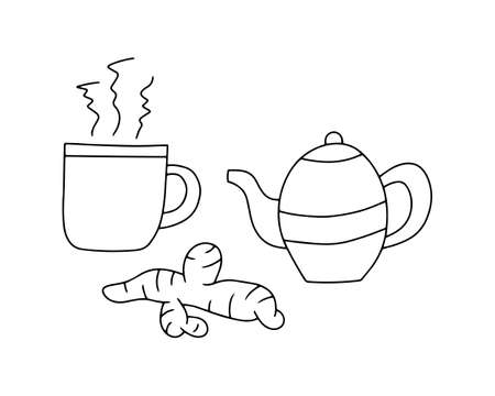 Doodle cup of tea, teapot, ginger set icon isolated on white. Kids hand drawing line art. Sketch vector stock illustration. EPS 10
