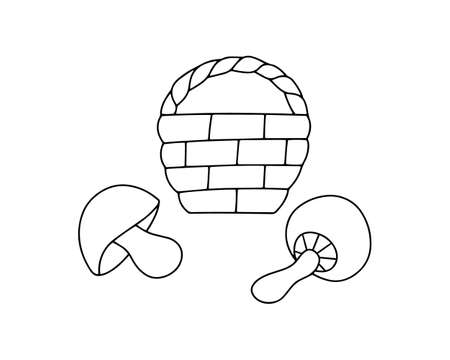 doodle basket with mushroom icon isolated on white, hand drawing art