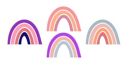 Boho rainbow set icons isolated on white. Vecteurs