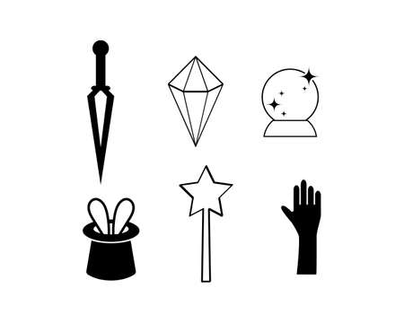 Doodle magic symbols set icon isolated on white. Hand drawing line art for halloween, xmas etc.
