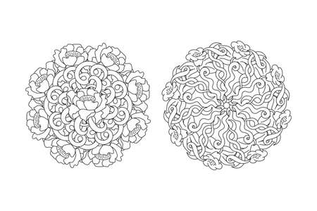 Doodle antistress flower with leaf and wave mandala set. Coloring page book isolated on white.