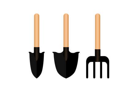 Gardening equipment set icons isolated on white. Garden symbol. Stock Illustratie